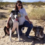 Me on a walk with Dixie (on the left) and Desi (on the right) on a cold January day of 78 degrees.